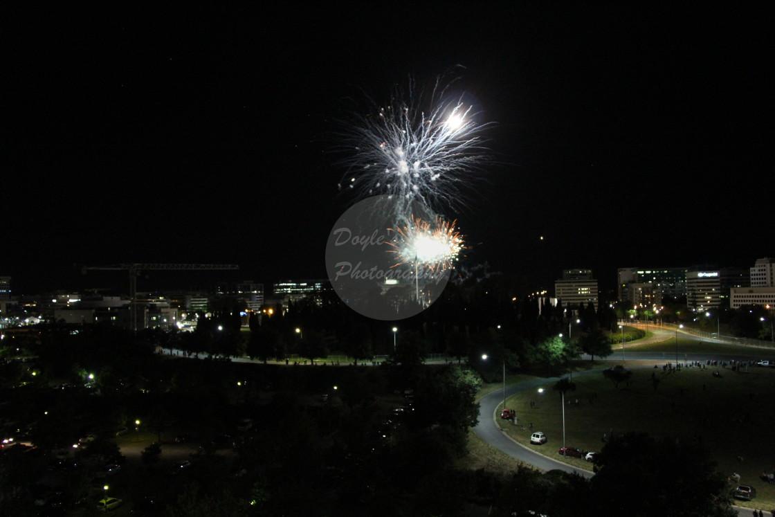 """""""White Starburst Fireworks"""" stock image"""