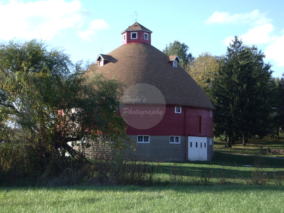 """Round Red Barn"" stock image"