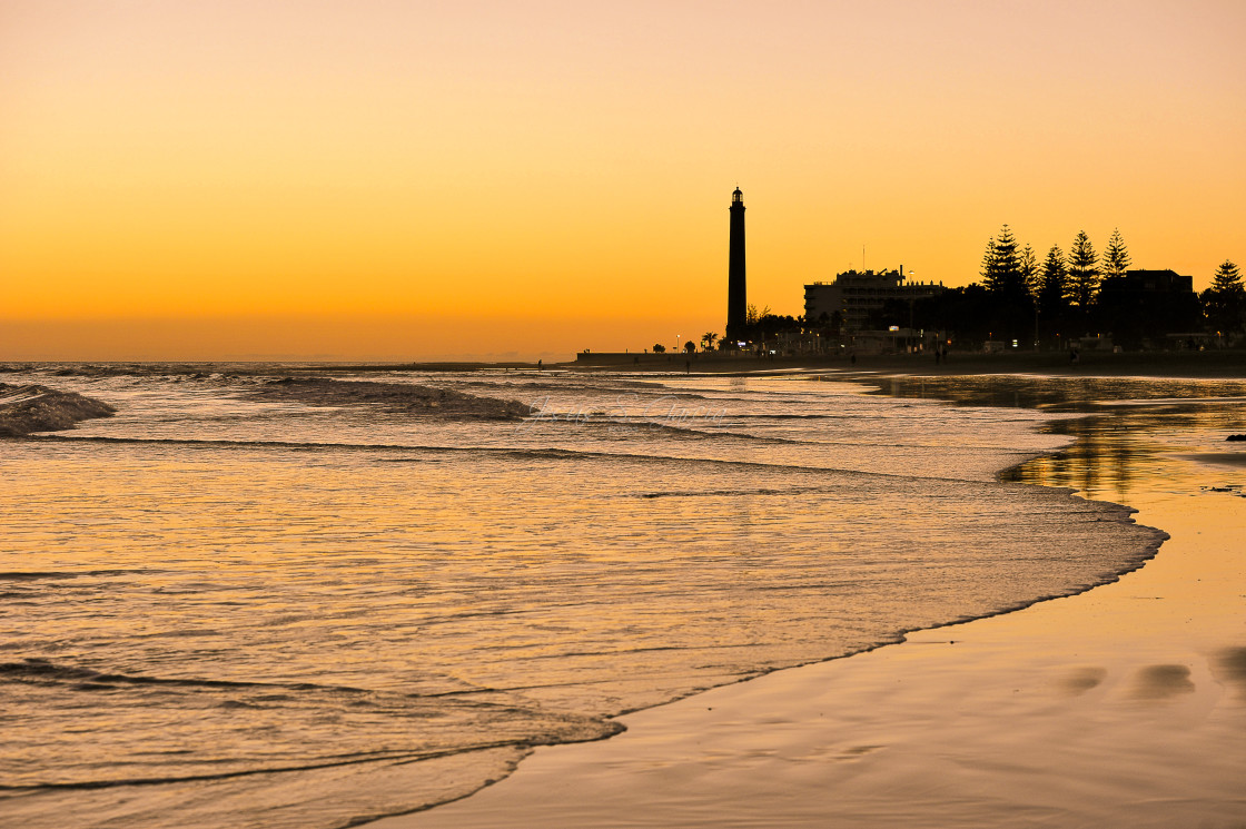 """""""Maspalomas lighthouse at Sunset"""" stock image"""