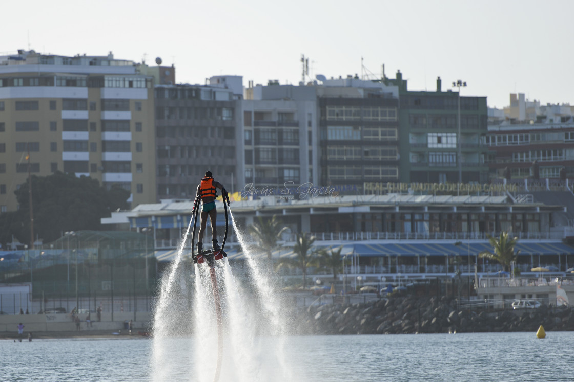 """""""Flyboard near the city"""" stock image"""