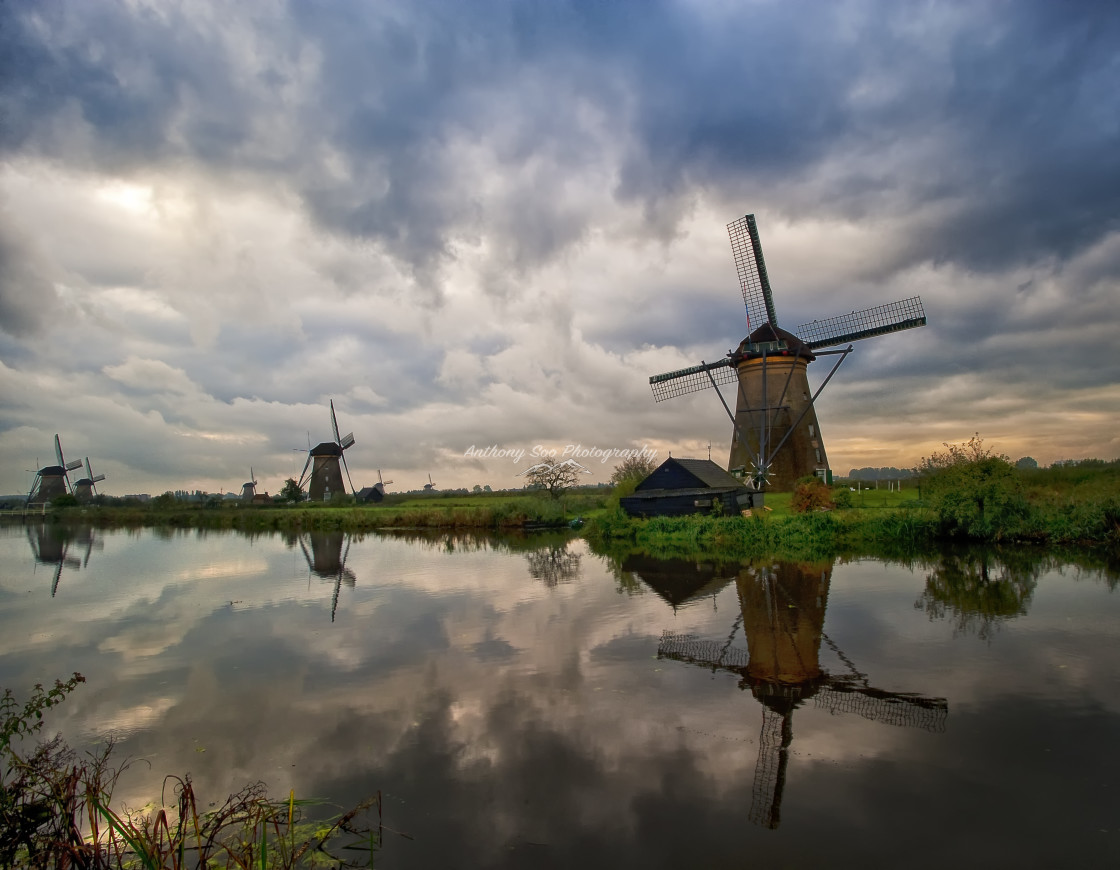 """Kinderdijk Sunrise Drama"" stock image"