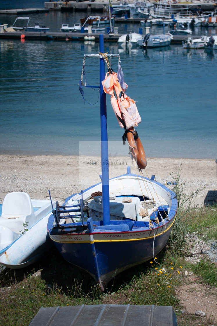 """boat on land in Greece"" stock image"