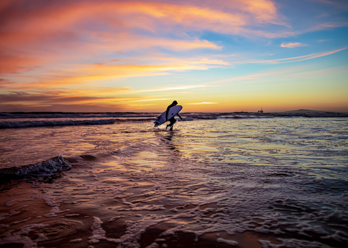 """""""sunset, surfer, clouds wave"""" stock image"""