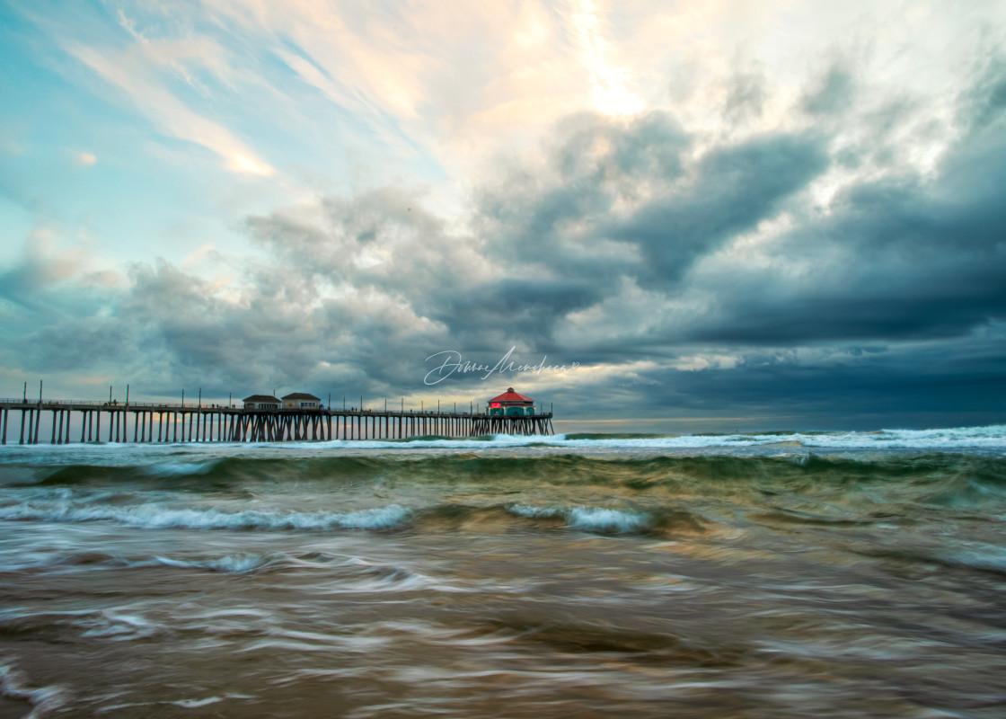 """""""Stormy sunset Huntington Beach Pier"""" stock image"""