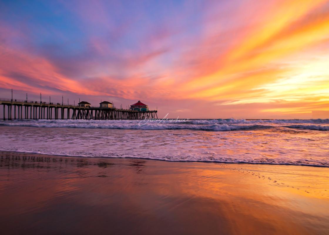 """cotton candy Huntington Beach Pier sunset"" stock image"