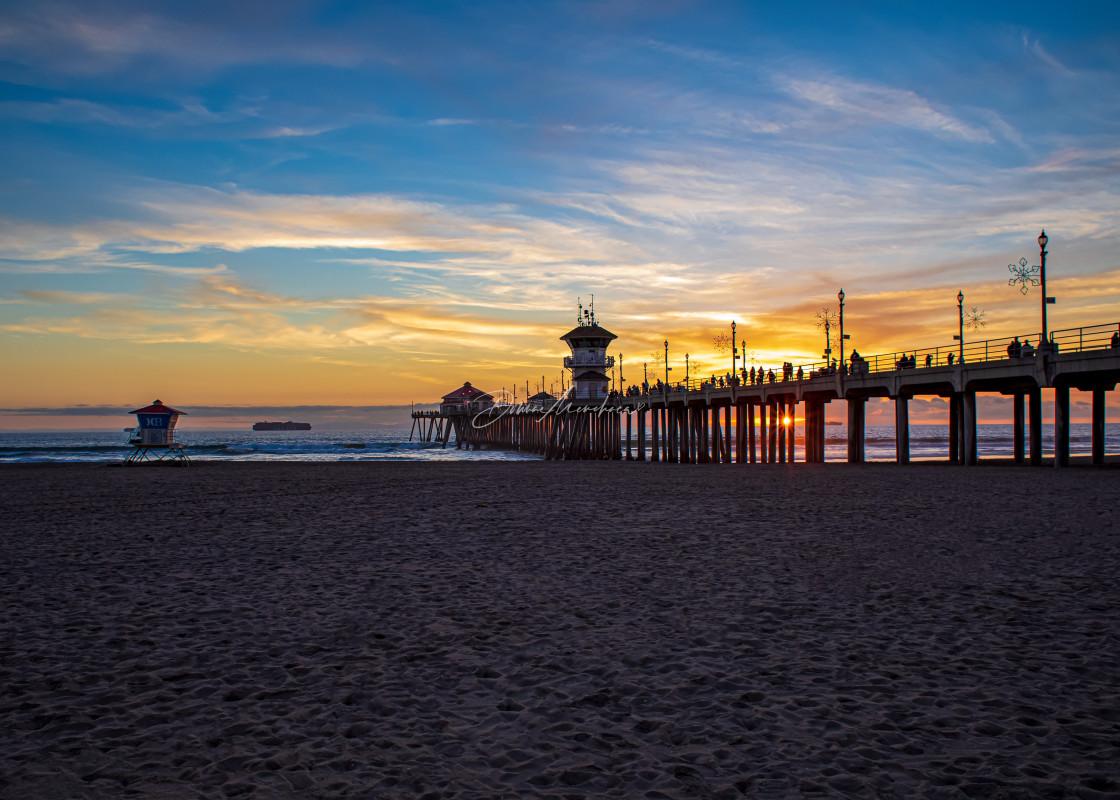 """Huntington Beach Sunset Pier"" stock image"