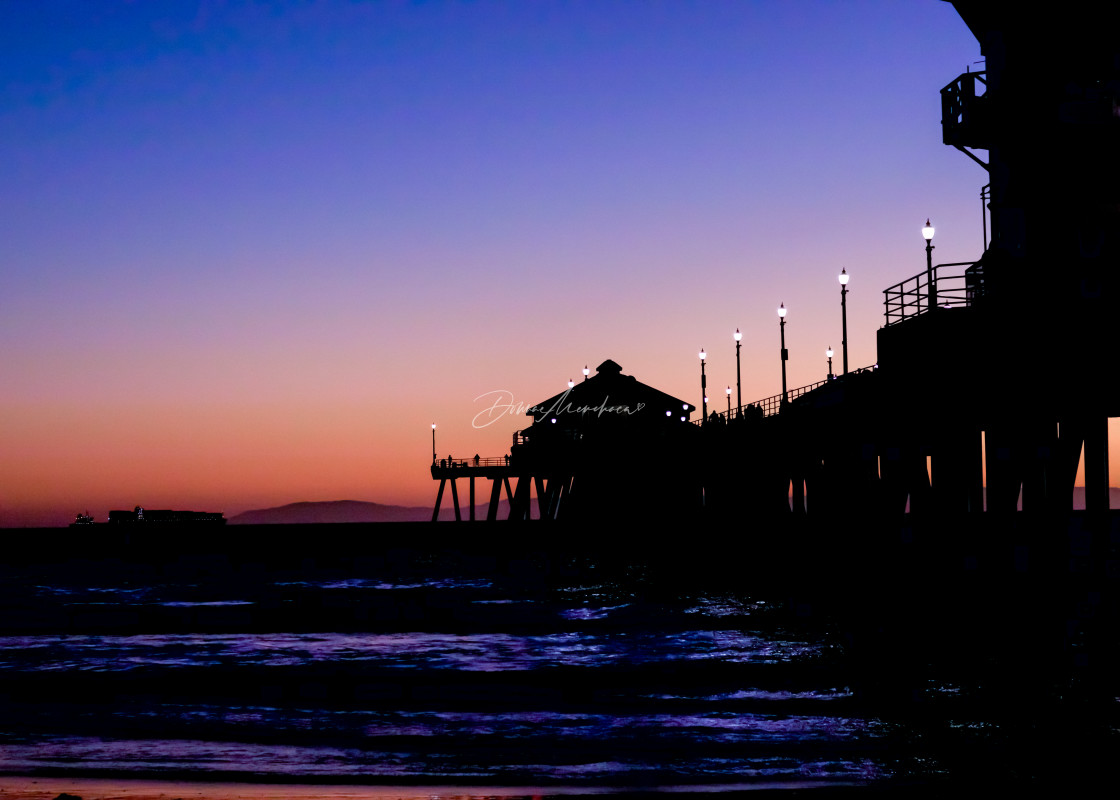 """""""HB Pier colorful sunset"""" stock image"""