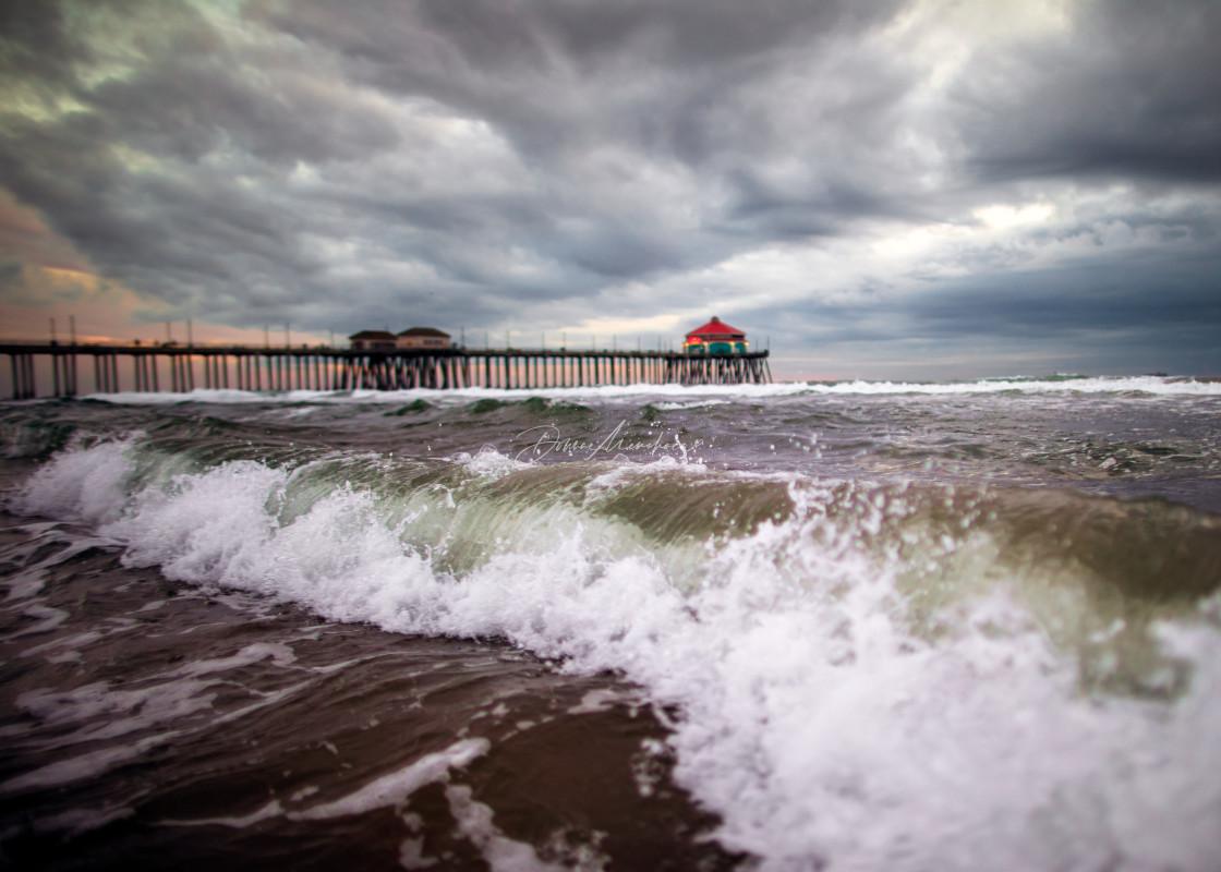 """""""STORMY NIGHT Huntington Beach, CA"""" stock image"""