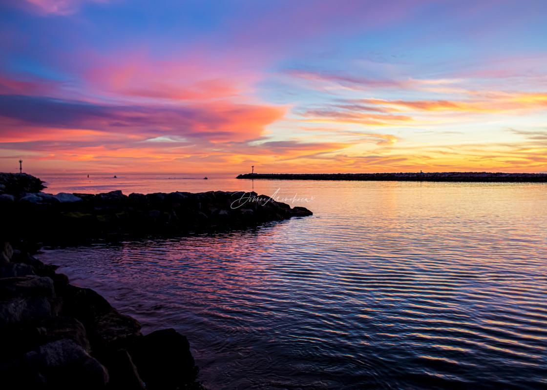 """Corona Del Mar, CA colorful sunset"" stock image"
