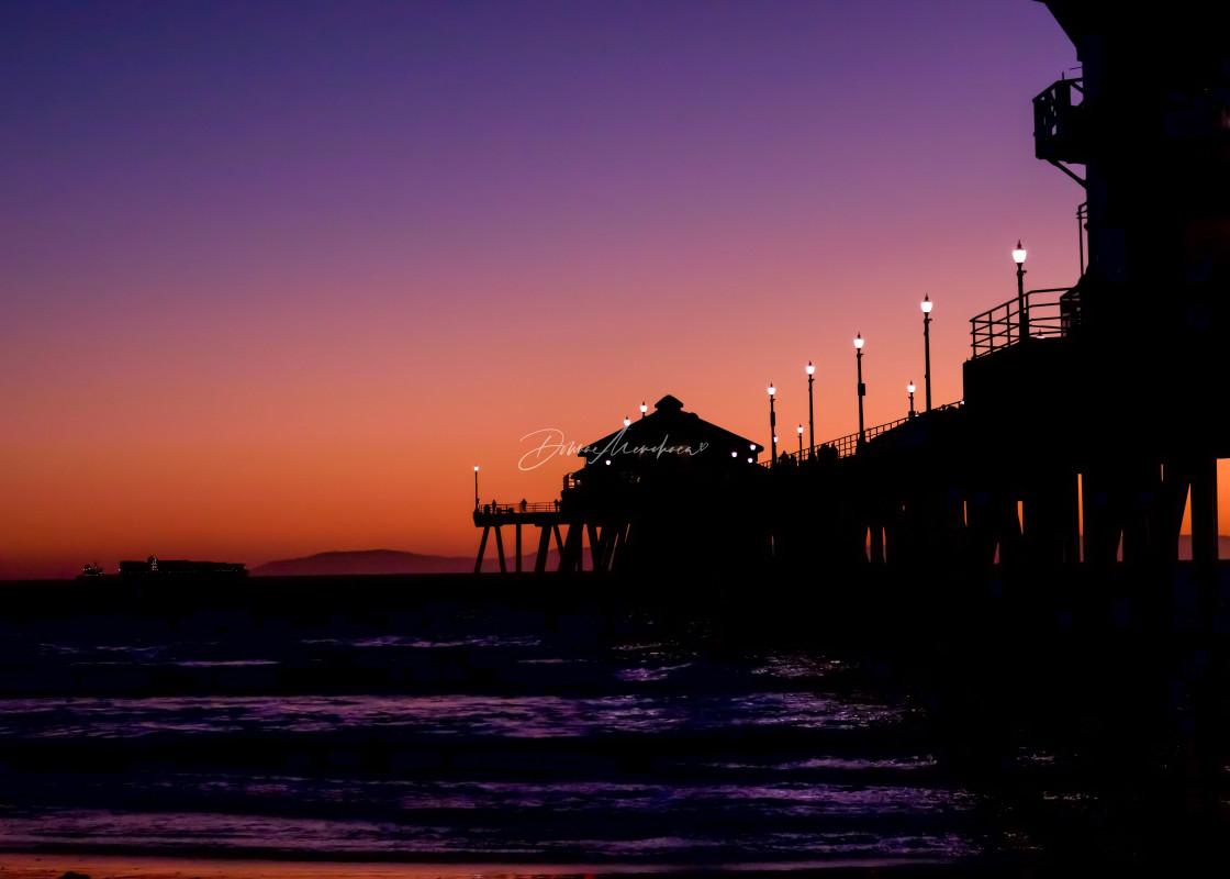 """HB pier pink sunset"" stock image"