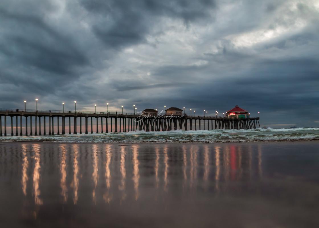 """Stormy night in Huntington Beach"" stock image"