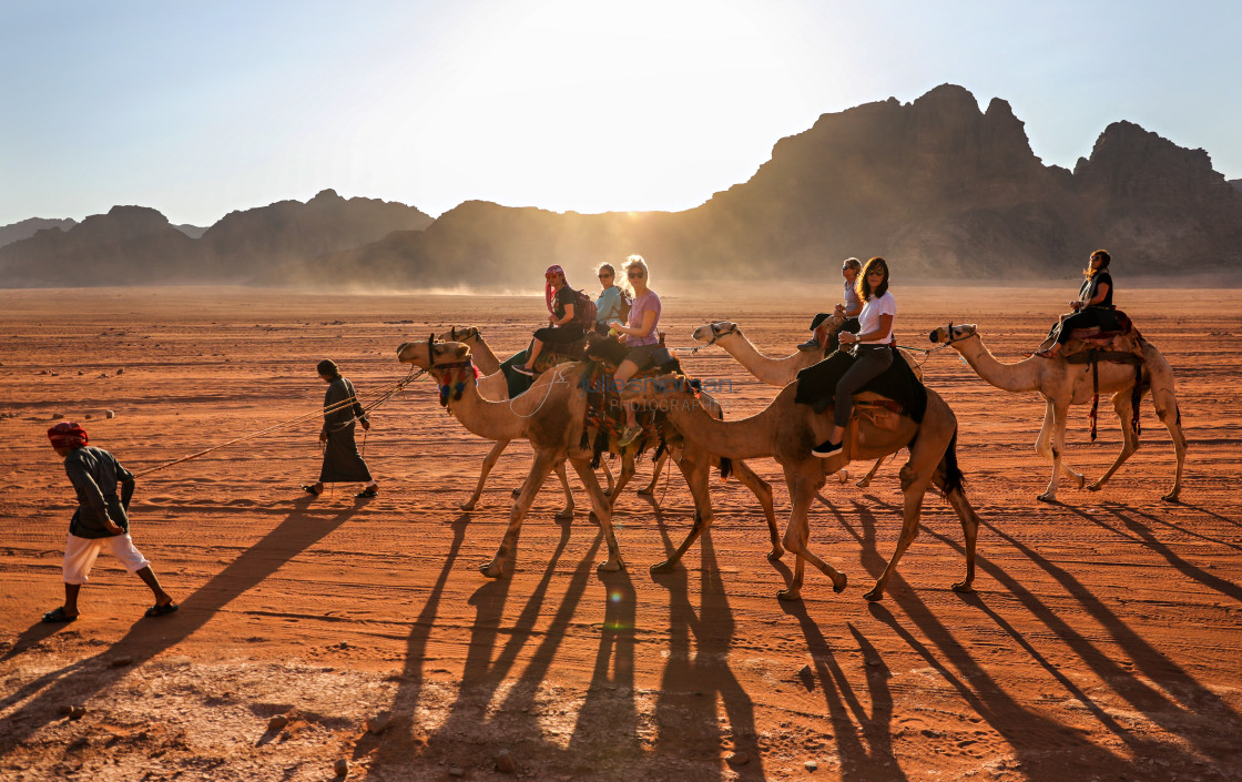 """""""A group of women on camels walking through the desert on Wadi Rum."""" stock image"""