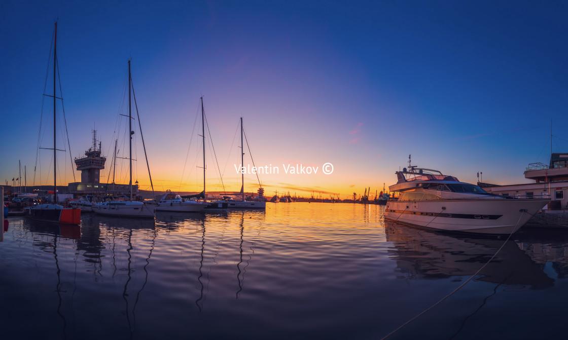 """Yacht port and beautiful sunset over Varna, Bulgaria. Sailboat h"" stock image"