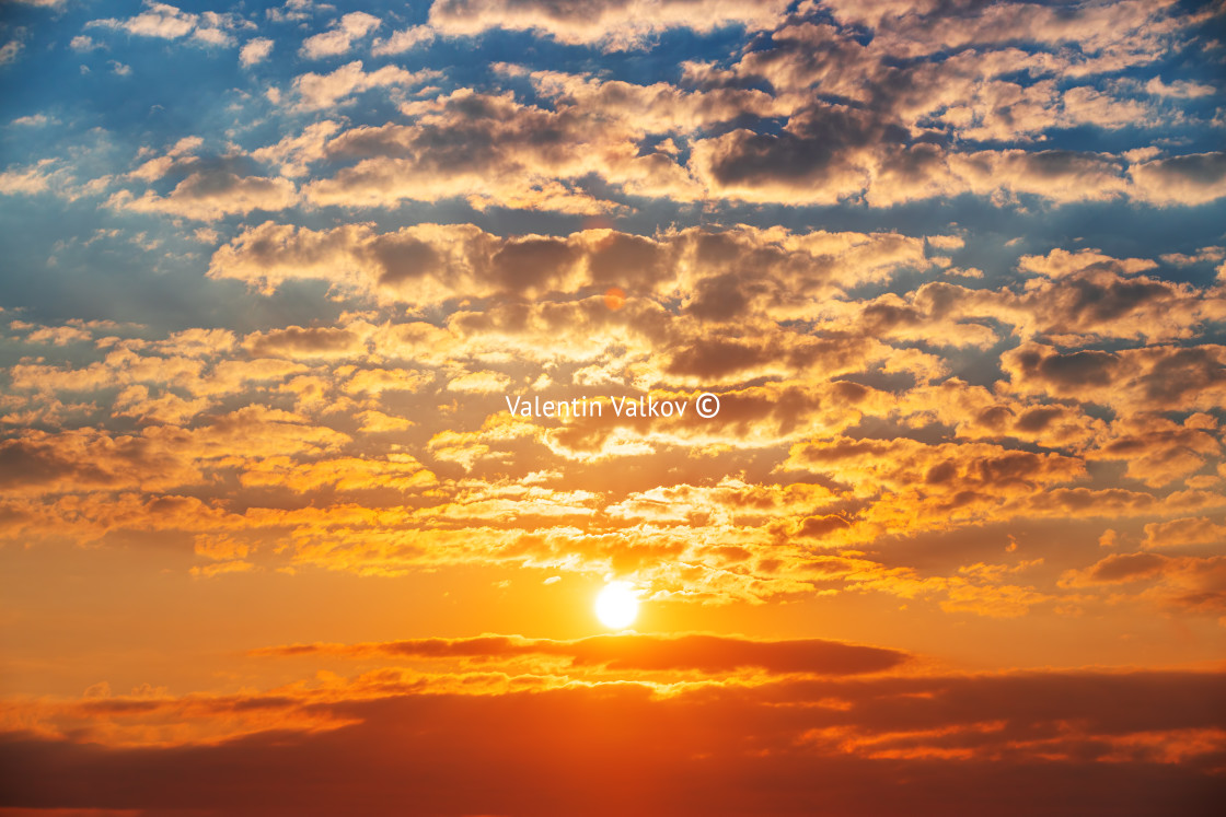 """""""Sky clouds at sunset or sunrise"""" stock image"""