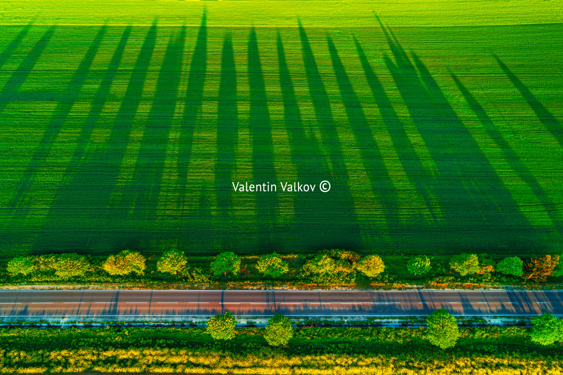 """""""Aerial view over the agricultural fields"""" stock image"""