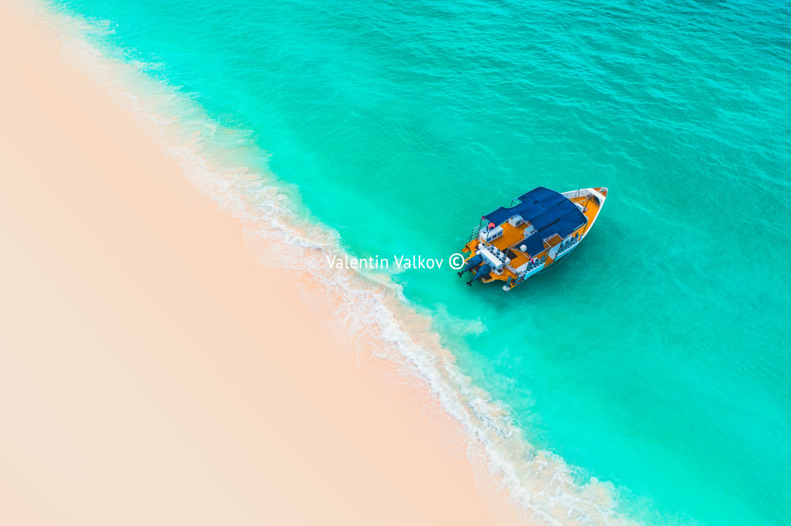 """""""Beautiful carribean sea and boat , aerial view from the beach"""" stock image"""