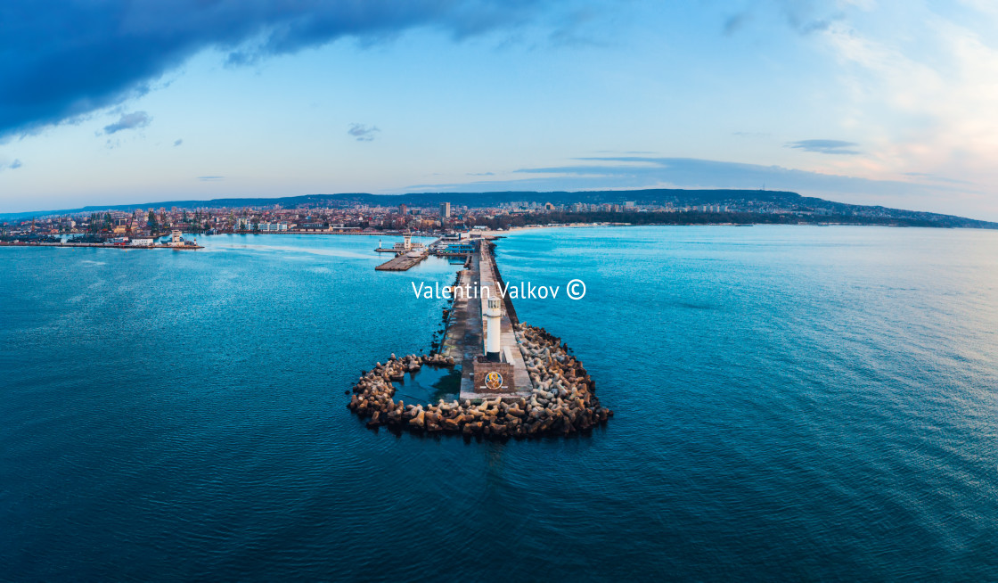 """Aerial view of lighthouse at sunrise in Varna, Bulgaria"" stock image"