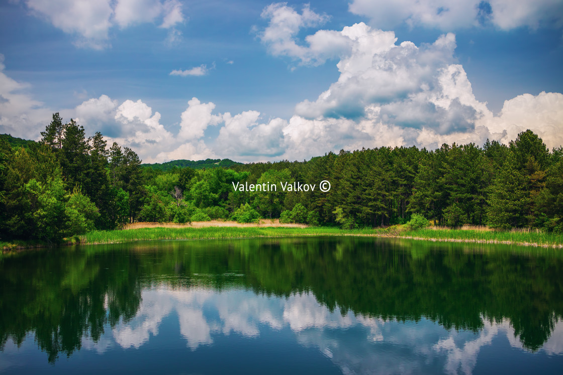 """Panoramic view on mountain lake"" stock image"
