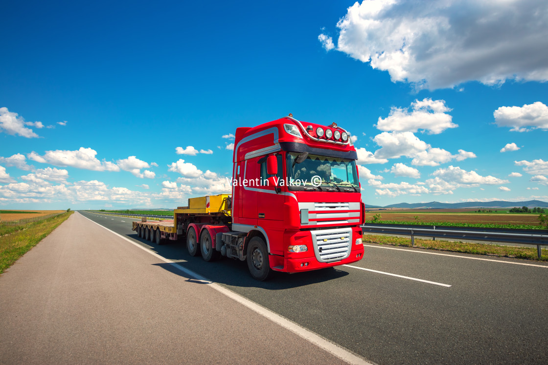 """""""Truck run fast on the highway to deliver"""" stock image"""