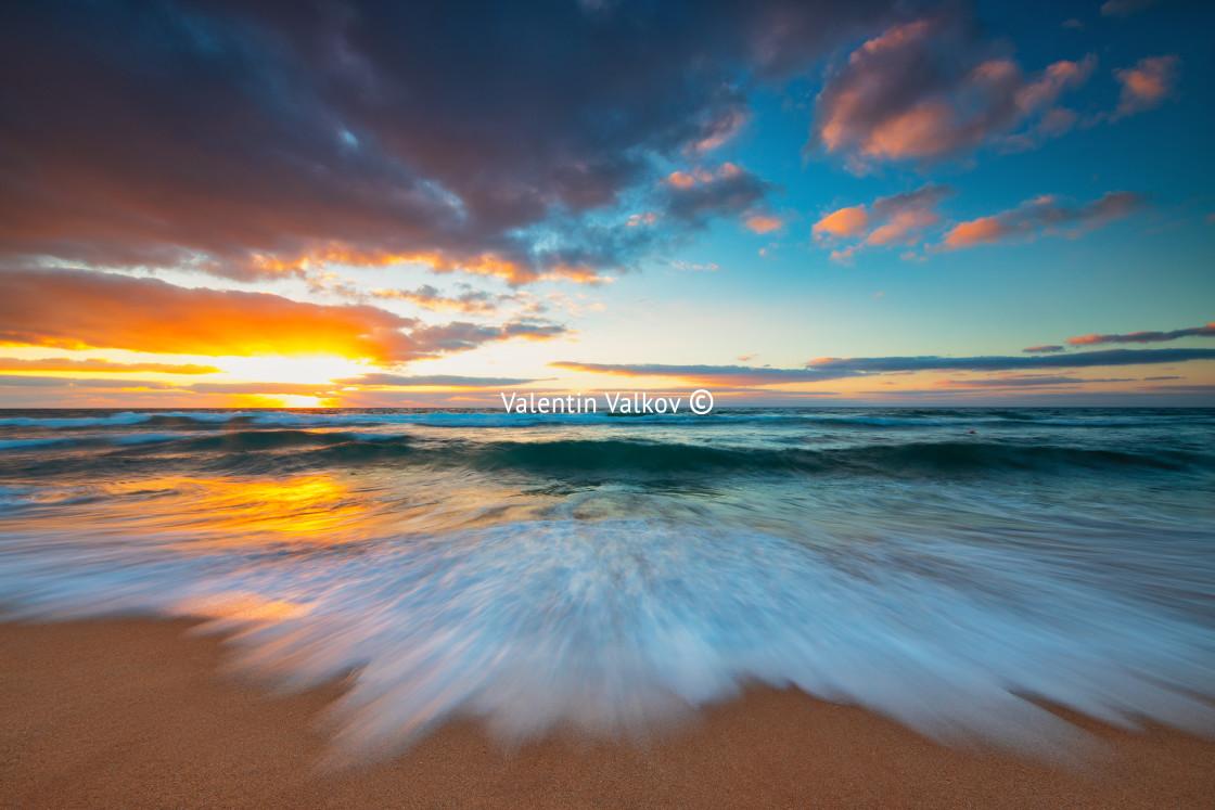 """Beautiful cloudscape over the sea"" stock image"