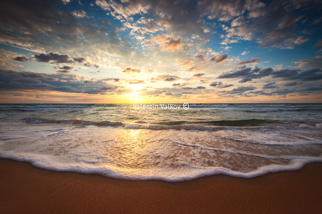 """Beautiful sunrise over the sea"" stock image"