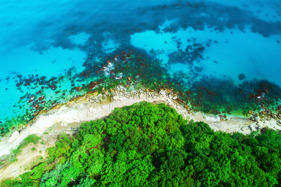 """""""Aerial view of wild beach"""" stock image"""