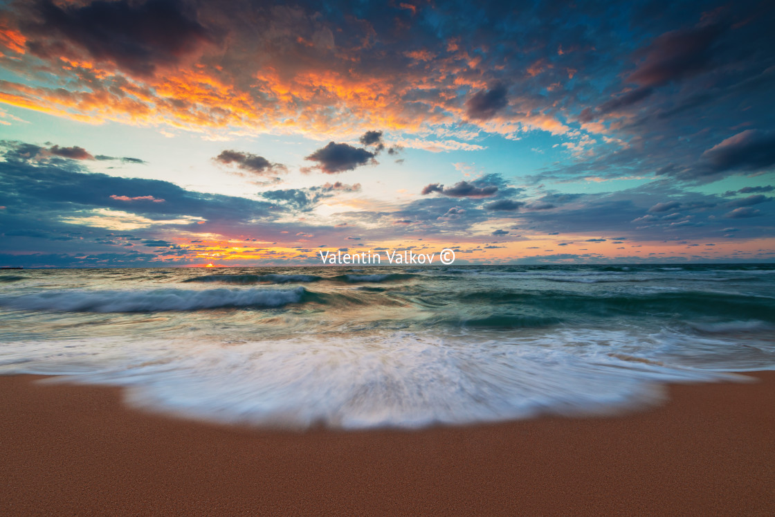 """Beautiful cloudscape over the sea"" stock image"