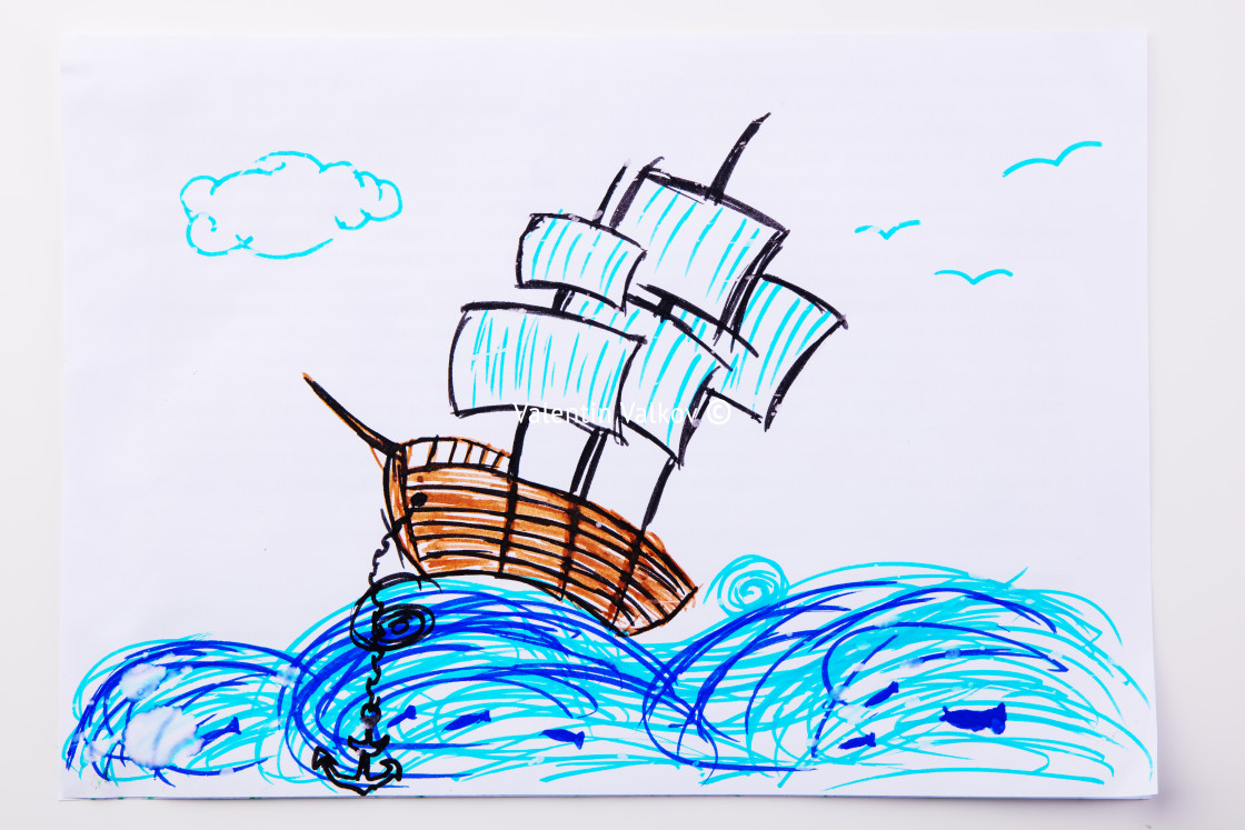 """""""Children's paint ship in sea. Kid drawing a pirate ship and ocea"""" stock image"""