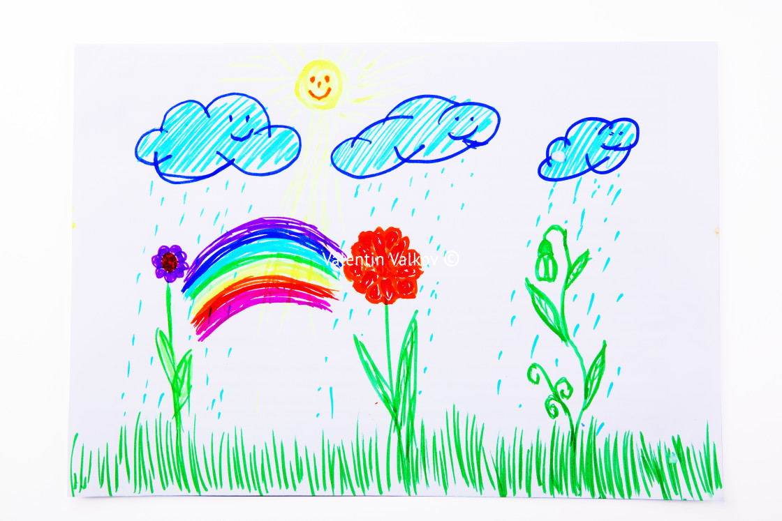 """Kids drawing flowers, sun, rainbow. Multicolored symbols set for"" stock image"