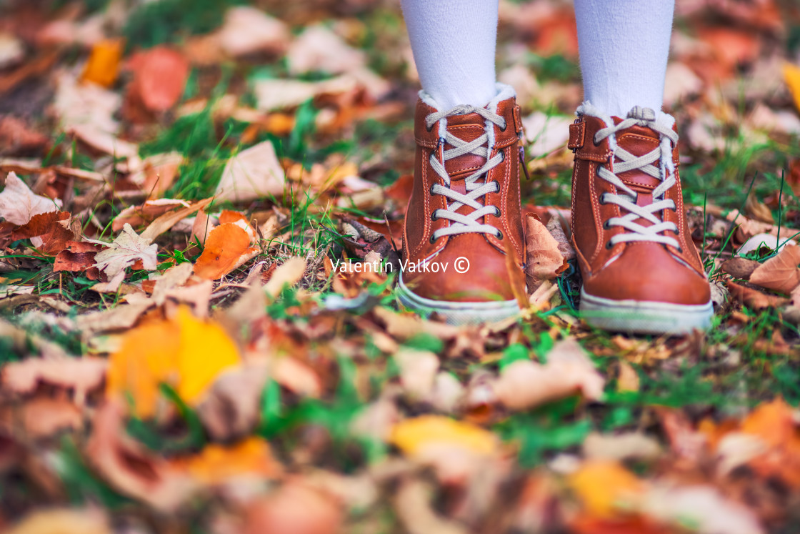 """""""Children in the park with autumn leaves on shoes"""" stock image"""