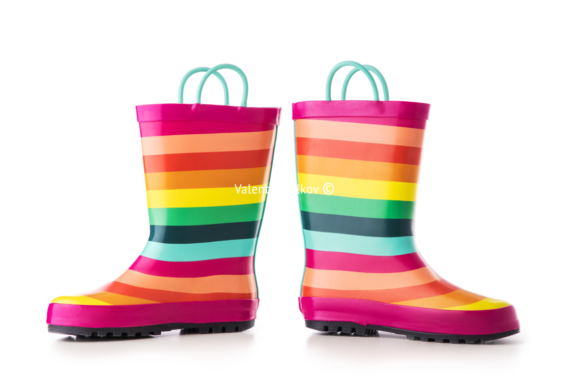 """Colorful kids rubber boots for rain isolated on white background"" stock image"
