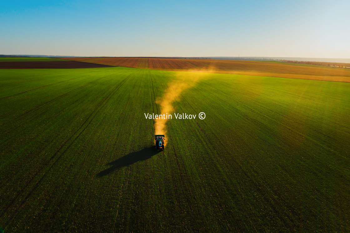 """Tractor fertilizing wheat field, aerial view, hdr nature landsca"" stock image"