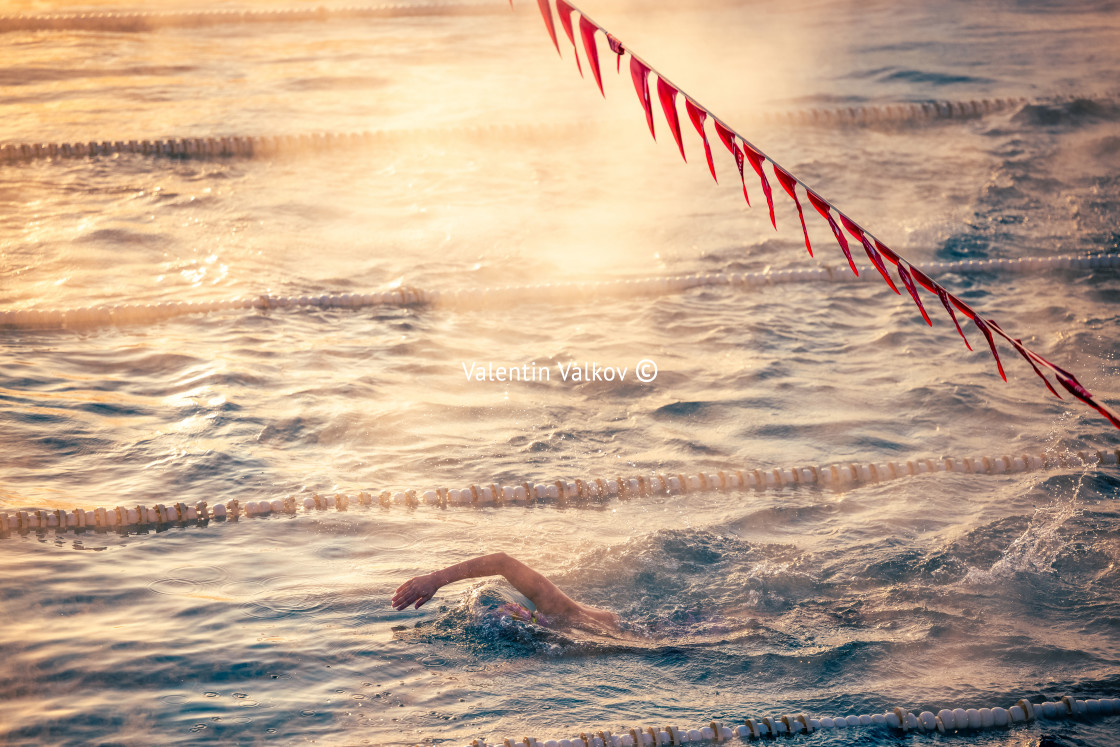"""""""Corridor Lanes and swimmer in swimming pool with fog over the wa"""" stock image"""