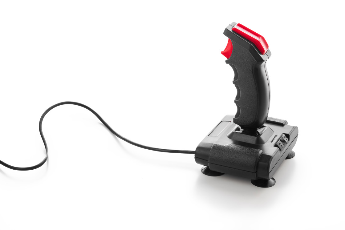 """""""Retro joystick from 8-bit consoles. Game controller isolated on"""" stock image"""