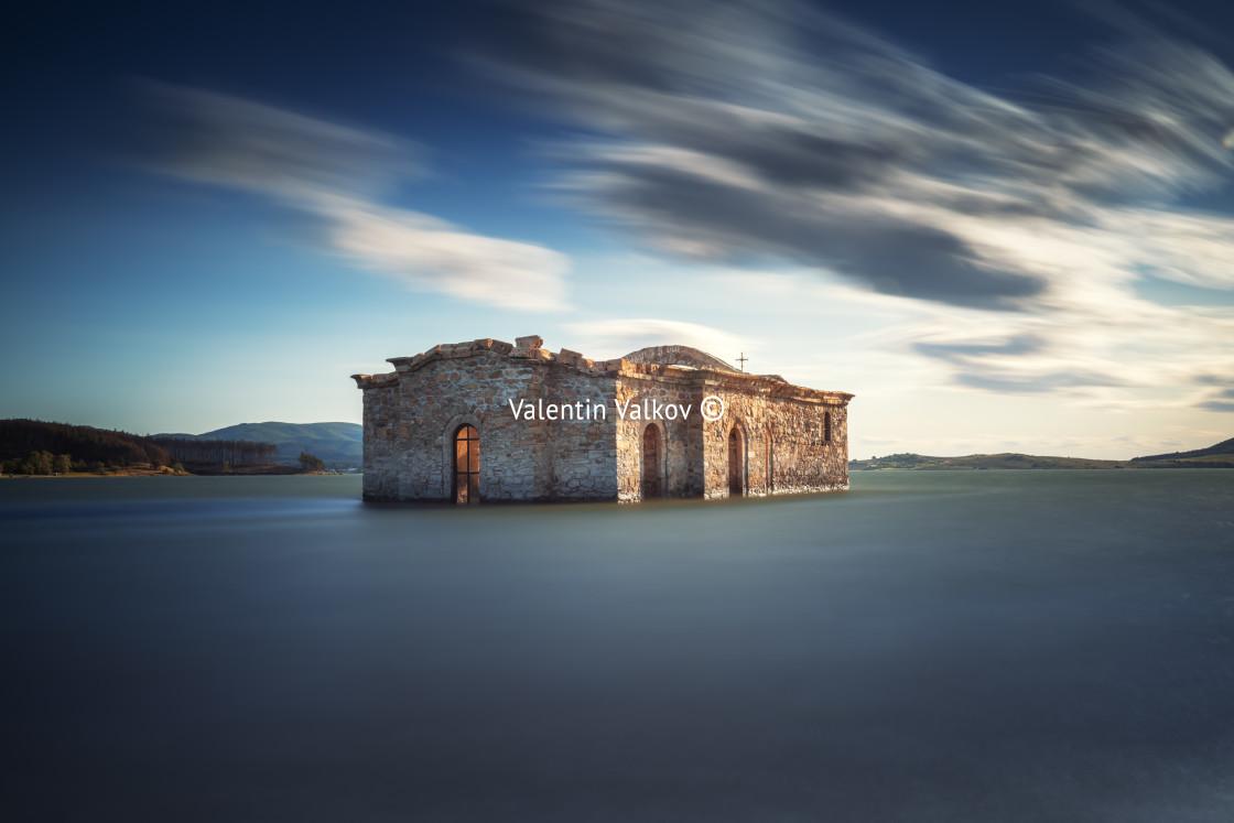"""""""Abandoned church in dam Jrebchevo, Bulgaria"""" stock image"""