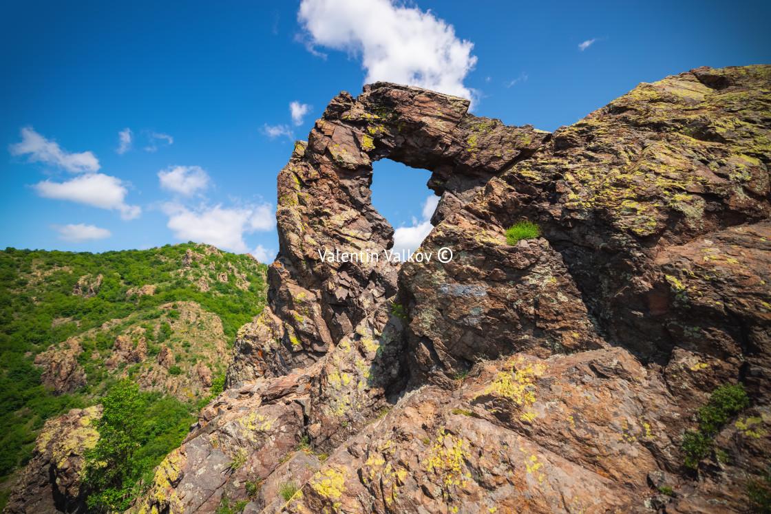 """Mountains landscape. Halkata stone formation in Karandila mounta"" stock image"