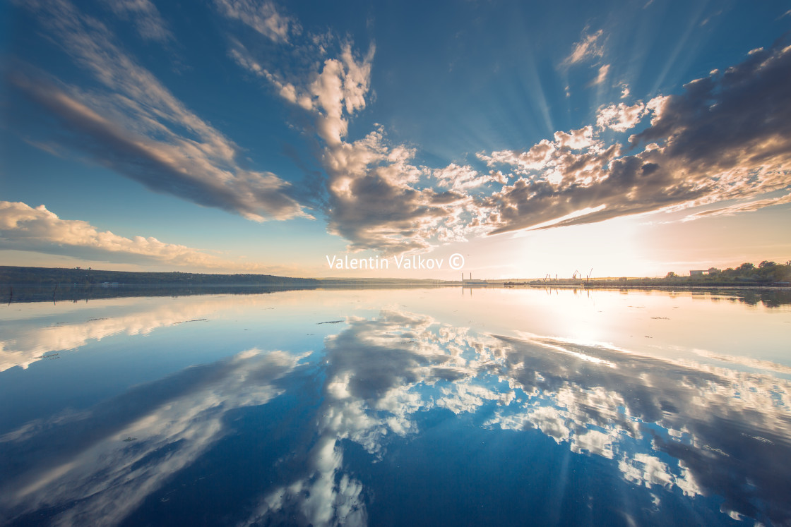 """""""Beautiful cloudscape over the lake"""" stock image"""