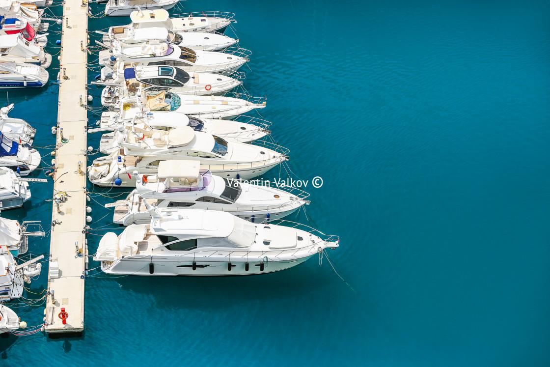 """Yacht sailing in Mediterranean Sea"" stock image"