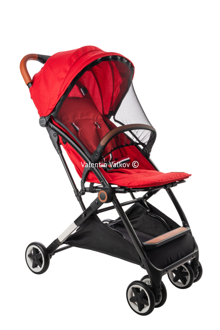 """""""Baby pram, modern red stroller isolated on white with clipping p"""" stock image"""