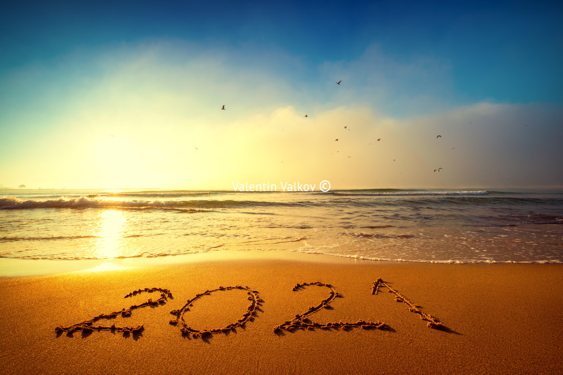 """""""Happy New Year 2021 concept, lettering on the beach. Written tex"""" stock image"""