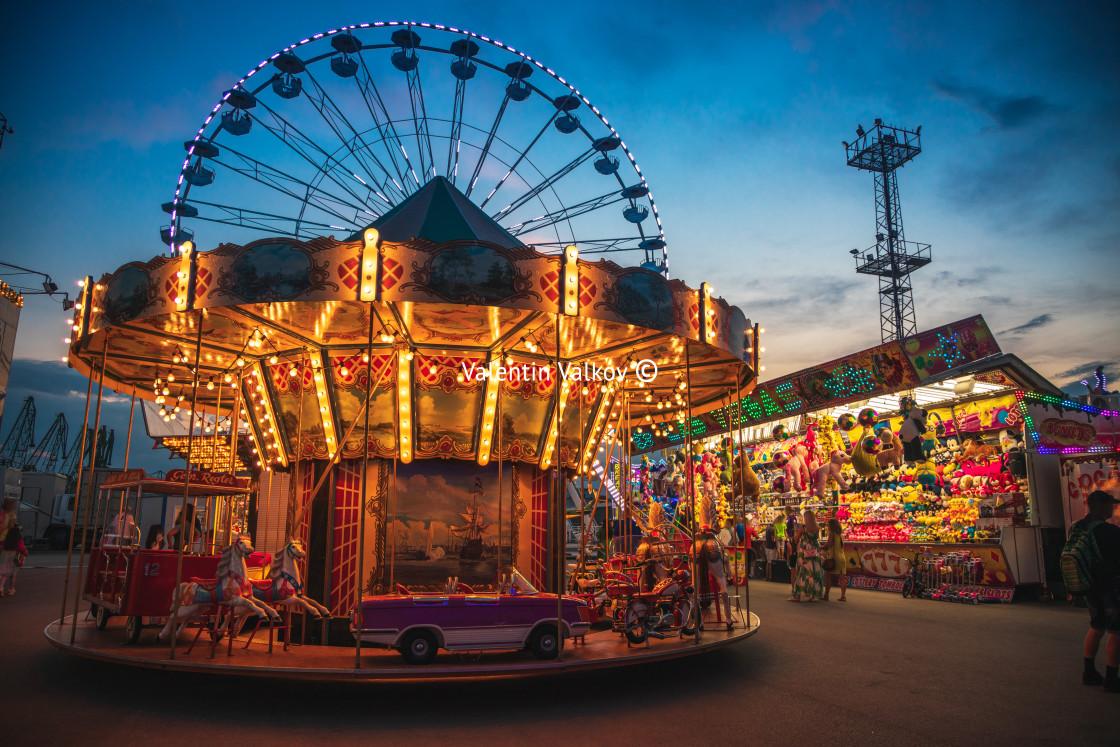 """Varna, Bulgaria - July 16, 2020:Amusement park outdoor scene. Ha"" stock image"