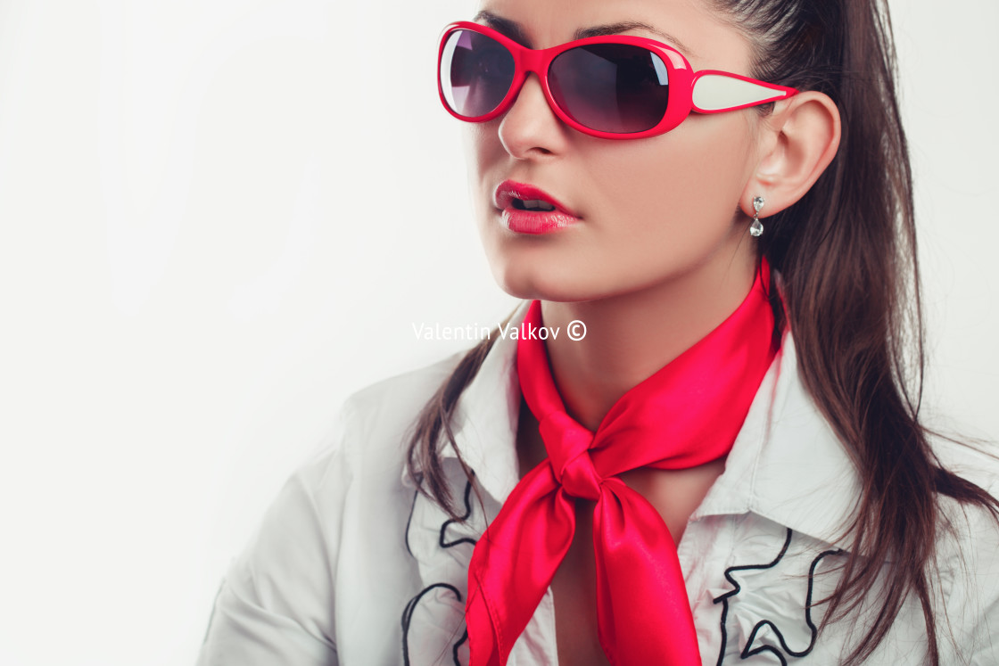 """""""Girl office staff with a red scarf and glasses isolated stock ph"""" stock image"""