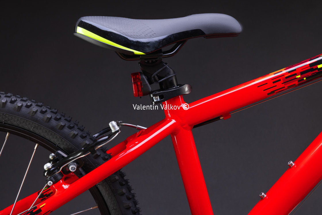 """""""Sport mountain red bicycle isolated on black background"""" stock image"""