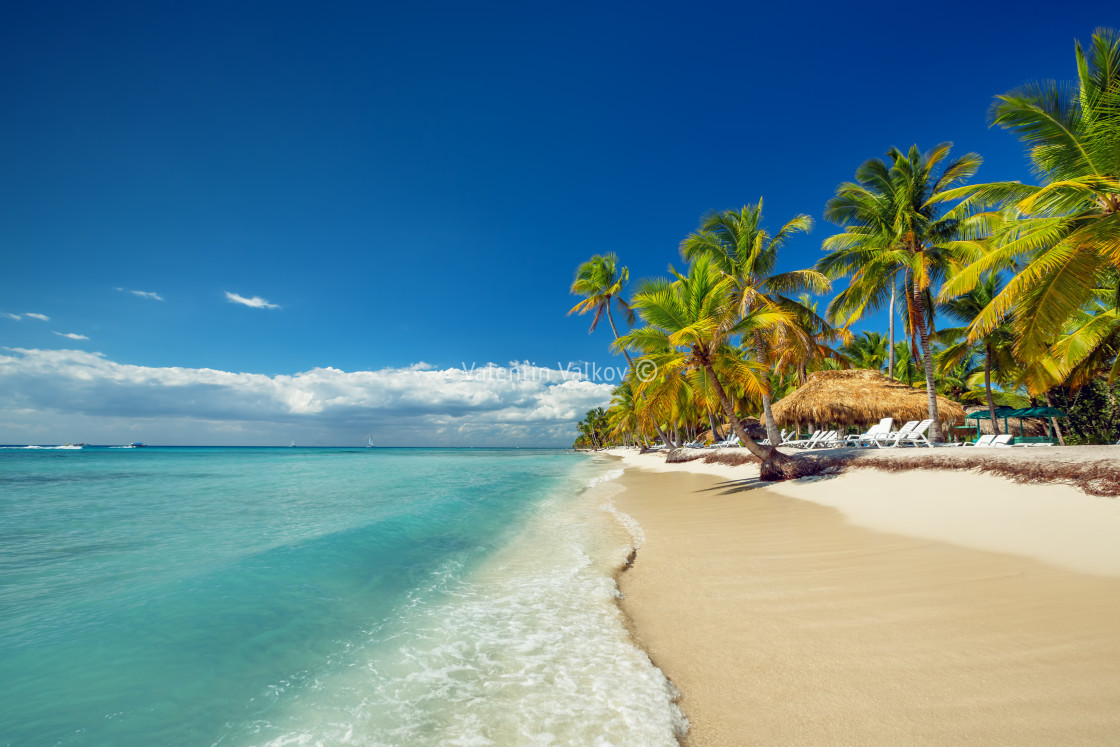 """Landscape of paradise tropical island beach"" stock image"