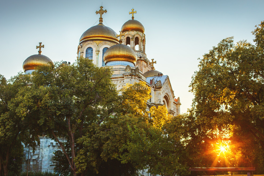 """The Assumption Cathedral of Modern Byzantine style with golden domes"" stock image"