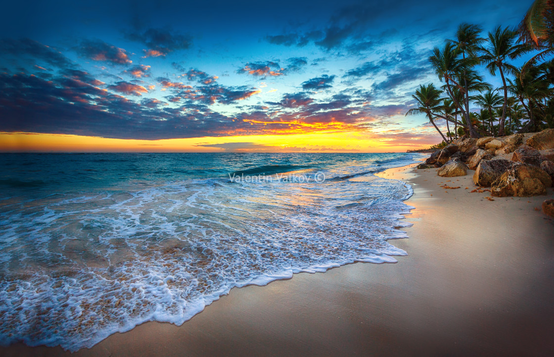 """Sunrise over the beach"" stock image"