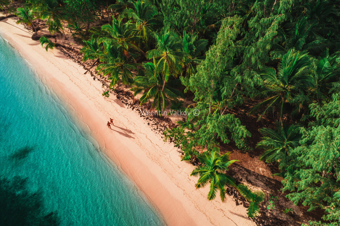 """Aerial view of tropical beach, Dominican Republic"" stock image"