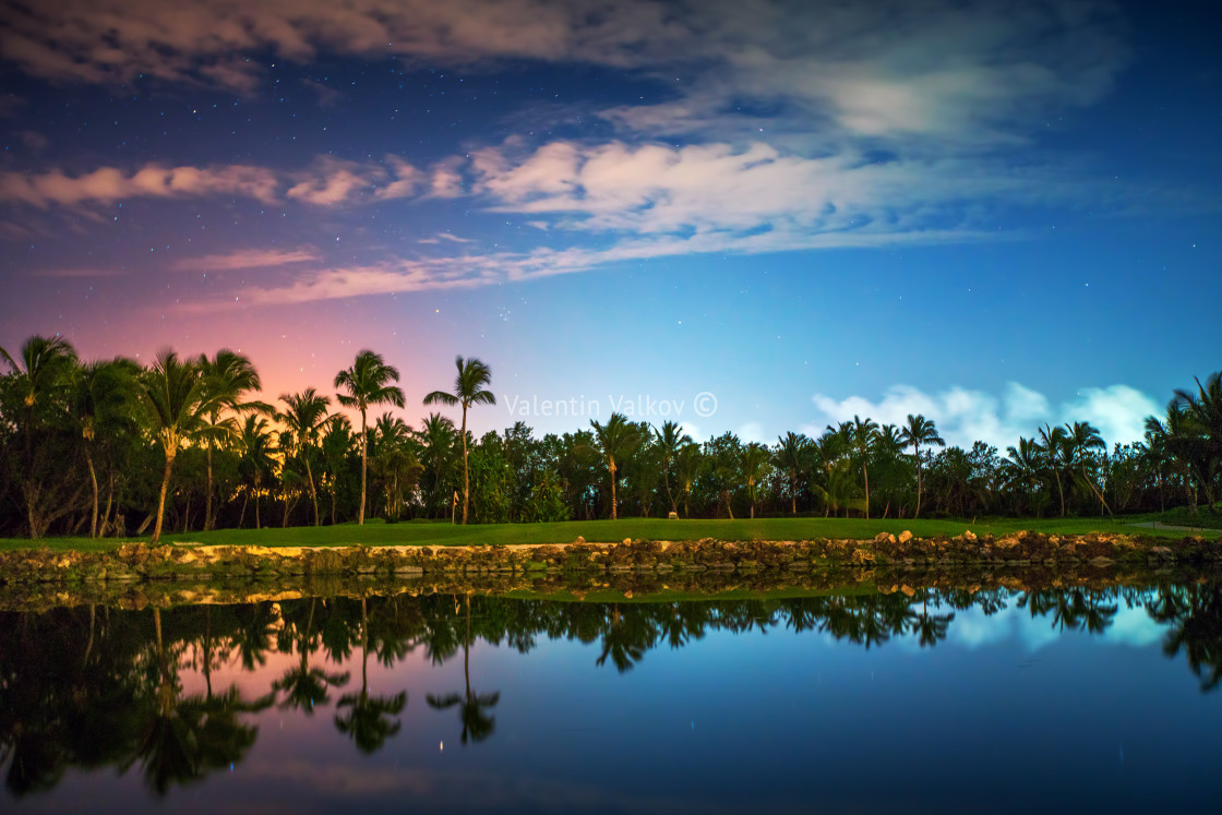 """Tropical golf course at sunset in Dominican Republic, Punta Cana"" stock image"