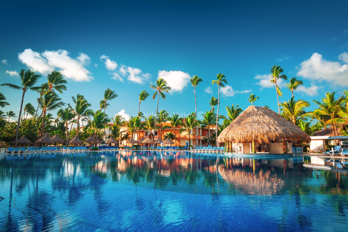 """Tropical swimming pool in luxury resort, Punta Cana"" stock image"
