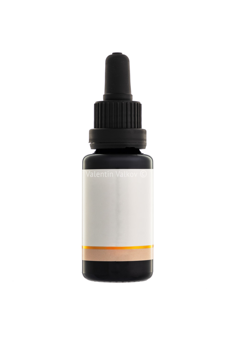 """""""Aromatherapy essential oil dropper bottle, isolated over white b"""" stock image"""